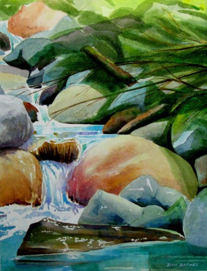 Mountain Stream Study #2, Watercolor, Sold