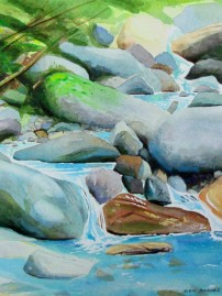 Mountain Stream Study #3, Watercolor, Available for sale.