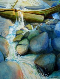 Mountain Stream Study #1 Watercolor, Sold.