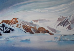 Summer in Gerlache Strait, Antarctica. Watercolour Sold