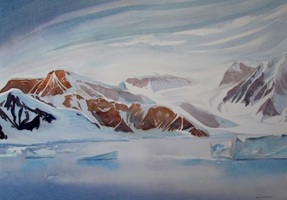 Summer in Gerlache Strait, Antarctica. Watercolour Sold