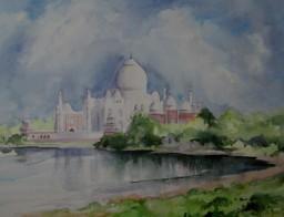 Taj Mahal on the banks of the Yamuna River, India