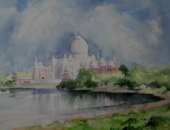 Taj Mahal on the banks of the Yamuna River, India
