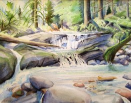 Fisherman's Creek, North Vancouver, BC, Watercolour, Sold.
