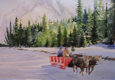 Sleigh Ride, Bow River, Banff, AB, Canada
