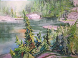 Mystery Lake, Mt. Seymour, BC. Watercolor, Sold.