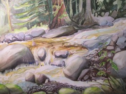 Mosquito Creek, North Vancouver, BC. Watercolor, Available for sale.