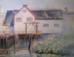 The Old Cannery Ice House, Richmond, BC. Watercolor, Available for sale.
