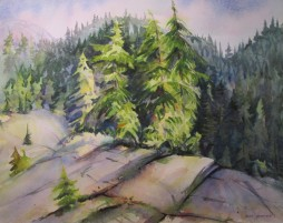 Cliff Edge, Mt. Seymour, BC. Watercolor, Sold.
