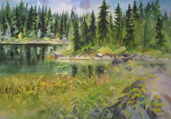 Goldie Lake, Mt. Seymour, BC. Watercolor, Available for sale.