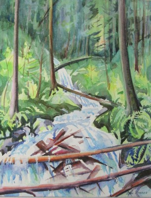 Stream Study, Mt. Fromme, BC. Watercolor, Sold