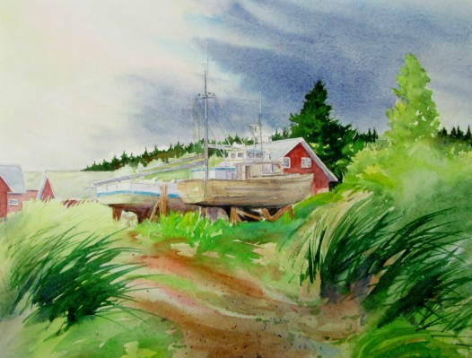 Tlingit Fishing Village, Alaska. Watercolor, Available for sale.