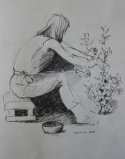 Lyn picking blueberries