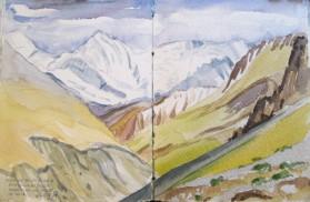 View of Annapurna and Gangapurna from Thorung Phedi