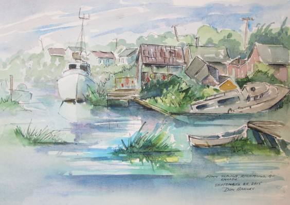 Fin Slough, Richmond, BC, Canada, Watercolour and Pen sketch, Sold