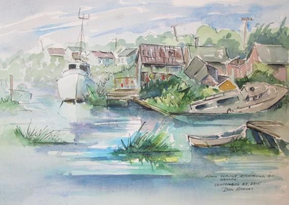 Fin Slough, Richmond, BC, Canada, Watercolour and Pen sketch, Sold
