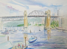 Burrard St. Bridge as seen from Granville Island, Vancouver, BC. Watercolour and Pen sketch, Available for sale.