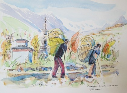 Annapurna Circuit near Manang, Nepal, Watercolour and Pen sketch, Available for sale.