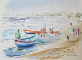 Juhu Beach, Mumbai, India, Watercolour and Pen Sketch, Sold