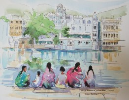 Lake Pichola, Udaipur, India, Watercolour and Pen sketch. Sold