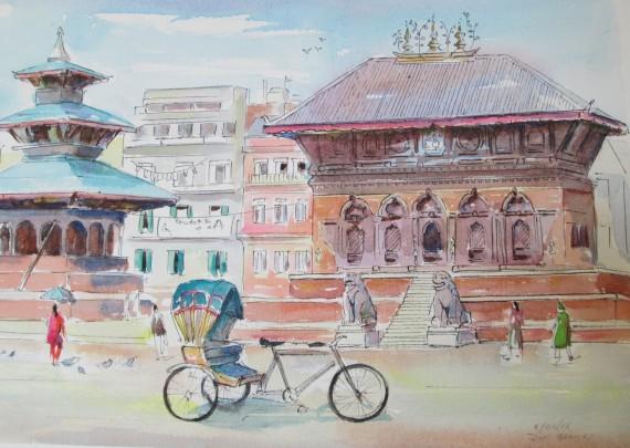 Durbar Square, Kathmandu, Nepal. Watercolour and Pen sketch, Sold