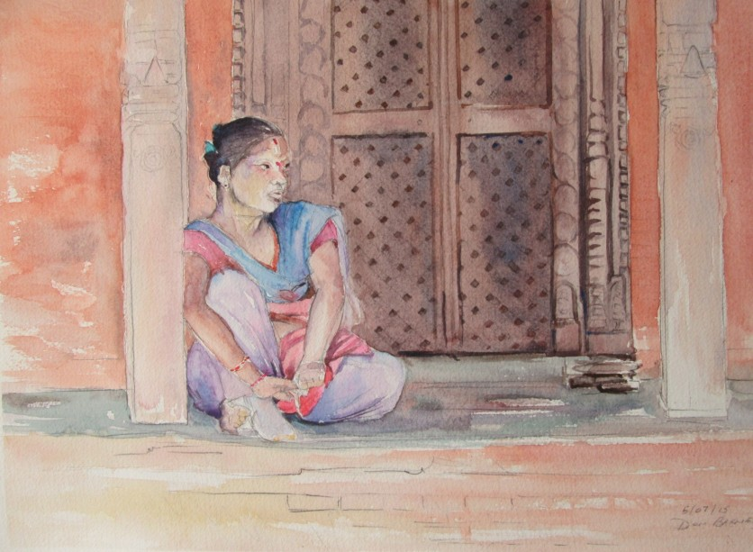 Nepalese woman in a temple doorway, Kathmandu, Nepal, Watercolour and Pencil sketch, Available for sale.