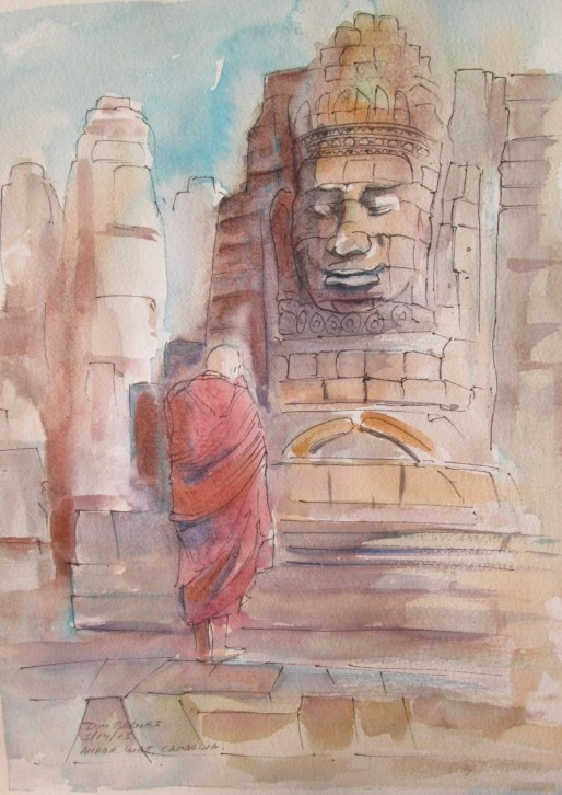 Bhuddist Monk at Angkor Wat, Cambodia, Watercolour and Pen sketch, Available for sale.
