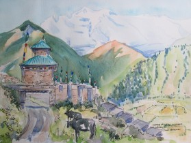 Leaving Upper Pisang Village on the Annapurna Circuit, Nepal, Watercolour and Pen sketch, Sold.