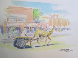"""Going to market"", Jaipur, Rajasthan, India, Watercolour and Pen sketch, Available for sale."