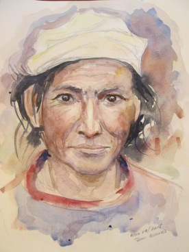 Nepalese Woman #3, Pencil and watercolour sketch