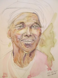 Nepalese Woman #1, Pencil and watercolour sketch
