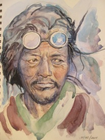 Sherpa, Nepal, Pencil and watercolour sketch