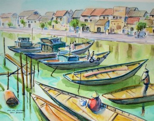 Fishing Boats on the Thu Bon River, Watercolour and Pen sketch, Available for sale.
