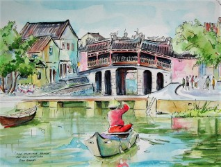 The Japanese Bridge, Hoi An, Vietnam, Watercolour and Pen sketch. Sold.