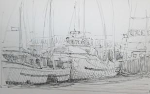 Pen sketch of fishing boats