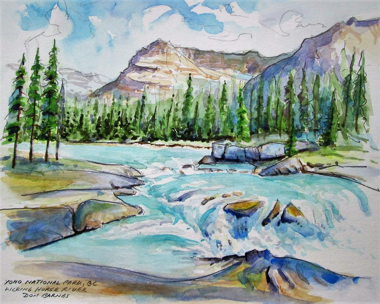 Kicking horse river sketch pencil and watercolor