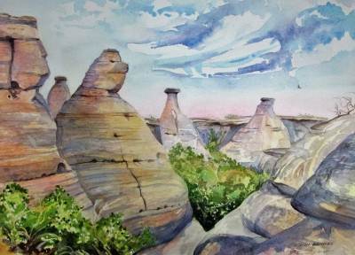 Hoodoo's at Writing-on-Stone, Watercolour