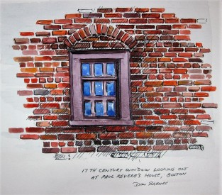 17th Century Window looking out at Paul Revere's House