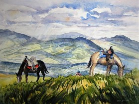 Exploring the hills above Quito, Ecuador. Watercolor