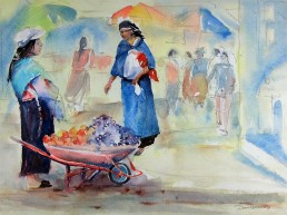 Woman selling fruit from a wheel barrow. Watercolor and pencil