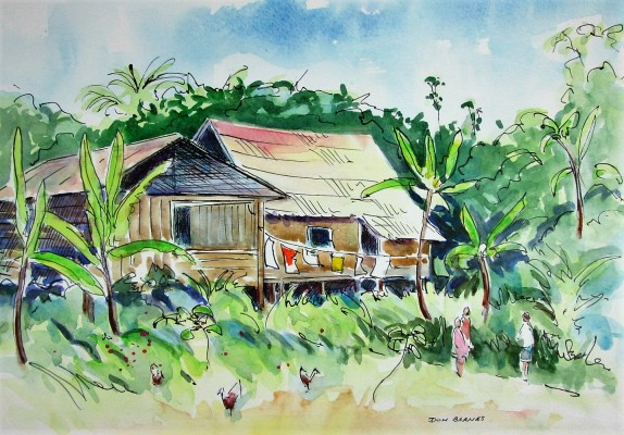 A small village along the Rio Napo, a tributary to the Amazon River. Watercolor and Pen. Sold.