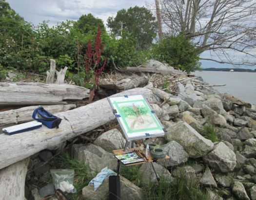 My painting gear beside the Fraser River.