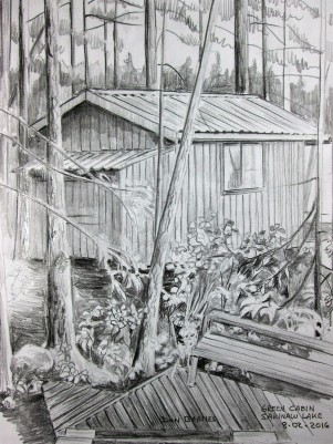 Green Cabin pencil sketch