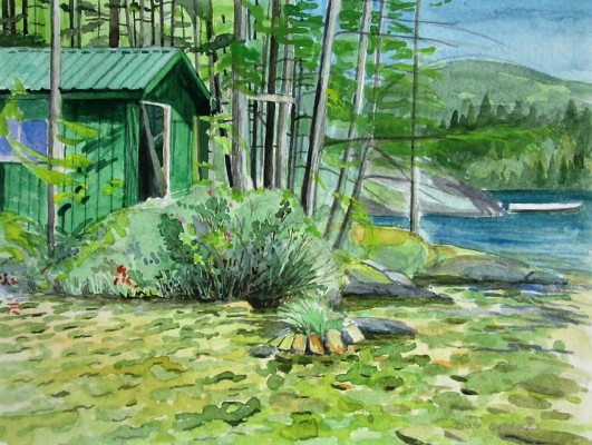 Green Cabin watercolor sketch