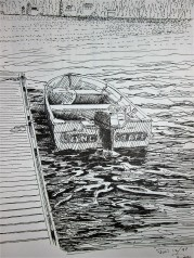 Pen sketch of motor boat