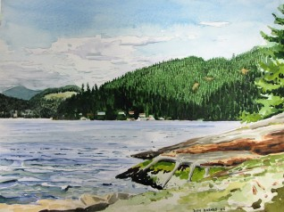 Sakinaw Lake watercolor sketch