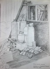 Pencil sketch behind the main cabin.