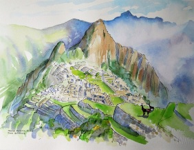 Watercolor and Pen sketch of Machu Picchu. Sold.
