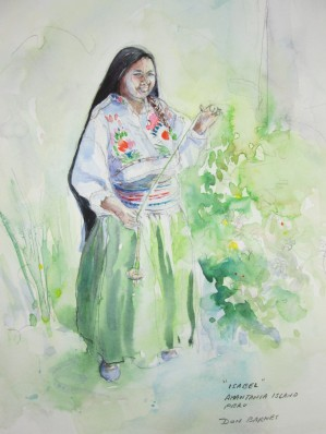 Pencil and Watercolor sketch of Isabel, our home stay host on Amantani Island.