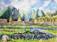 Watercolor and Pencil sketch at Machu Picchu. Available for sale.